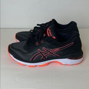 Asics T855N Black and Orange Running Shoes